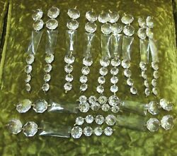 VINTAGE OLD Clear Crystal Chandelier Prisms Parts 22 Strips 8.75quot; Rectangle $165.00