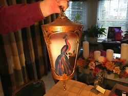 Antique Hanging Light Fixture Reverse Painted Glass Panels of Peacocks ? $375.00