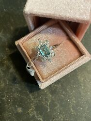 Ring Bomb Party. Size 10. March Birthday Bomb. Aquamarine. $30.00