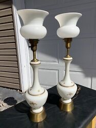 "31"" VTG White Glass MCM Empire Underwriters Hollywood Regency Mid Lamp Light $499.99"