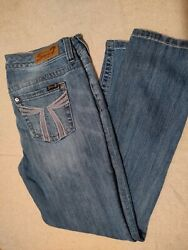 Women#x27;s Seven 7 Mid Rise Embellished Easy Straight Jeans Size 12 $18.00