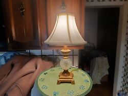 Vintage Small Berman Footed Table Lamp w Fabric Shade 16quot; tall $43.00