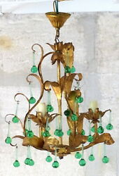 Vintage Chandelier RARE Green glass Drops Gilded Metal from MURANO 1960#x27;s $890.00