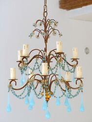 RARE Vintage Chandelier Blue Opaline drops Beads 10 Lights Gouttes MURANO 1930 $940.00