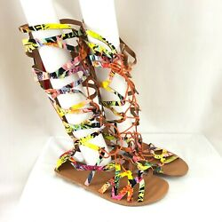 Womens Gladiator Sandals Strappy Floral Lace Up Colorful Size 41 Size 10 $24.99