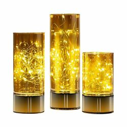 UMEIED Handmade Glass Cylinder Lanterns with Fairy Lights Battery Operated ... $50.72