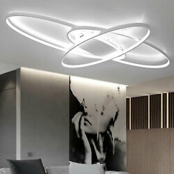 Modern Oval LED Ceiling Light White Pendant Dining Room Dimmable Lamp Fixtures $105.00
