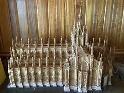 FABULOUS LARGE Wood Model CATHEDRAL OF MILAN Antique with table and glass case $7500.00