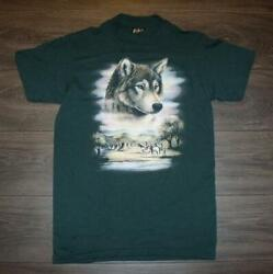 Vintage 3D Emblem Wolf Shirt MEDIUM Cotton Made in USA $33.15