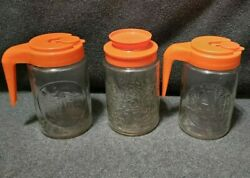 LOT Vintage Anchor Hocking Glass Tang Jars Pitchers Cabin Water Wheel Lillies $21.00