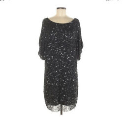 Aidan Mattox Beaded Shift Cocktail Party Formal Little Black Dress 8 EUC $46.89