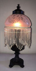 Vintage Lamp Bronze Resin Base Beaded Fringe White Etched Glass Shade 14quot; Tall $79.95
