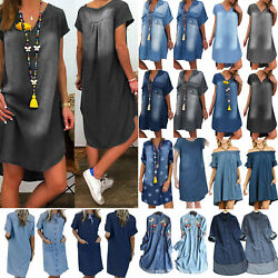 Women Ladies Denim Mini Dress Summer Casual Beach Baggy Jeans Dresses Plus Size. $26.02