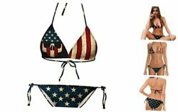 Sexy American Flag Bikini for Women Patriotic Swimsuits Skull A C Small $43.93