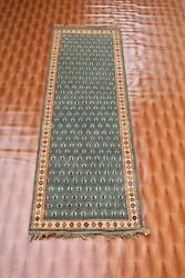 Afghan Carpet Green Colour Runner Turkish Wool Rugs Corridor Bohemian 2x6 foot $260.00