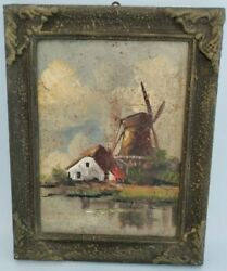 Old Oil painting Antique Oil painting of a Dutch Landscape w Farm amp; Windmill $125.00
