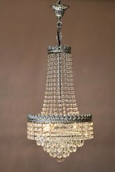 Empire Vintage Crystal Chandelier Silver Antique Lighting French Light lamp GBP 845.00