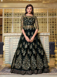 Designer Gowns embroidered Party wear Black Net Indian Anarkali Salwar Kameez