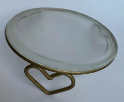 """Vintage Heart Metal Candle Stand Frosted Glass Plate Pillar 7"""" Romantic Decor $12.07"""