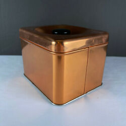 Lincoln Beautyware Copper Kitchen Decor Square Tea 10 Canister With Lid $23.99