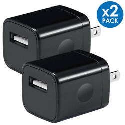 2x Black 1A USB Power Adapter AC Home Wall Charger US Plug For iPhone 5 6 7 8 $6.49