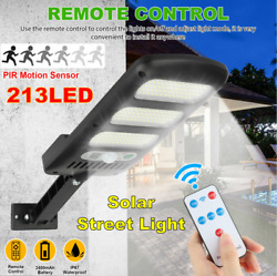 213 LED Outdoor Solar Street Wall Light PIR Motion Sensor Road Lamp with Remote