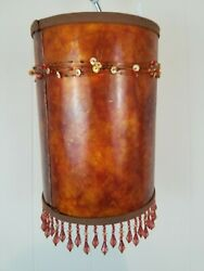 Vintage Fiberglass? Lamp Shade 8.75quot; Tall Copper Orange Brown with Beads $39.99