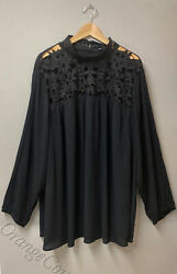 New Women#x27;s Who What Wear top tunic Long Sleeve High neck Black Plus size 4X New