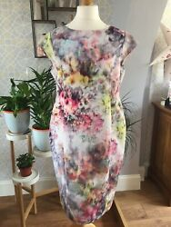 Ladies Dress Size 18 Multi Sheath Midi Famp;F Floral Wedding Occasion Party Plus GBP 7.50