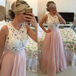 USA Womens Sexy Lace Chiffon Evening Party Ball Prom Holiday Cocktail Long Dress $19.98