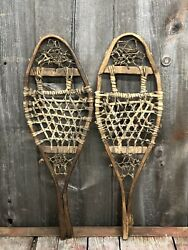 RARE Amazing Antique Indian Native American Hand Crafted KIDS Snowshoes 27x9 $275.00
