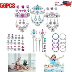 56PCS Pieces Pretend Princess Jewelry Dress Up Accessories Toy Playset For Girls