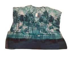 Bleu Rod Beattie Womens Cover Up Swim Top Blue Thunder Palm Trees Tie Knot L New $34.99