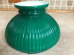 """7quot; Green Ribbed Oil Student Table Glass Lamp Shade 9 1 2"""" Tall $49.99"""