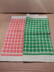 Vintage Kitchen Hand Towels All Linen Lot of 2 Orange and Green $20.00