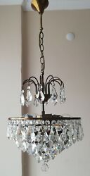 French Basket Style Vintage Brass amp; Crystals Chandelier Antique Lamp quot;213 14quot; $405.00