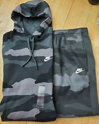 NIKE CAMOUFLAGE SWEATSUIT HOODIE amp; TAPERED PANTS NEW MEN#x27;S BOTH SIZE L