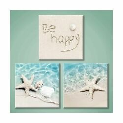 Ocean Canvas Picture Art Wall: Beach Painting Pictures Starfish and Conch Can... $63.09