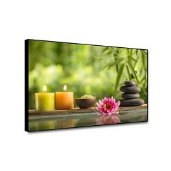 Cassisy Zen Wall Art Framed Poster Zen Stones Candle Red Waterlily Spa Bamboo... $34.45