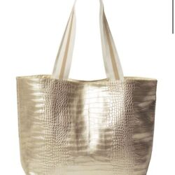 ❤NWT Saks Fifth Avenue Beach Large Tote embossed Gold $58.00