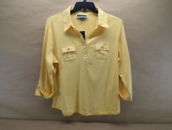 Karen Scott Plus Women#x27;s Core Knits Warm Gold Top Size 1X $19.99
