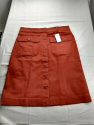 Lands#x27; End Chino Button Front Skirt Women 10 Orange $12.00