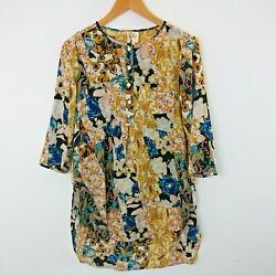 Antropologie Fig and Flower Kendra Tunic Top Floral Print Multicolor Boho MEDIUM $29.99