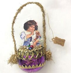 Bethany Lowe Vintage Victorian Dresden Star Christmas Ornament Tinsel Glass $27.99