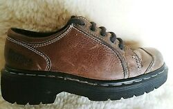 Dr. Doc Martens Melissa Leather Oxford Shoes Women#x27;s Size 4 Brown Leather Lace $12.95