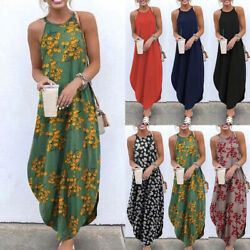 Plus Size Casual Loose Crew Neck Sleeveless Maxi Dress Women Beach Party Dresses $10.65