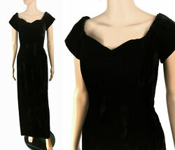 Vintage 70s Black Velvet Maxi Dress Gown Party Formal Bridal Evening S M $44.99