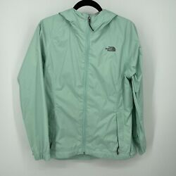 The North face Nylon rain jacket Mint Green Hooded Womens sz M Pre owned $29.99