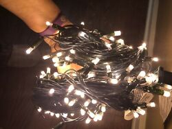 50 LED Commercial Grade Outdoor String Lights GREEN Rope Warm WHITE