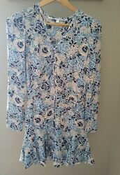 Veronica Beard Riggins Floral Dress Size 2 Blue Silk Button Down Mini L S $129.99